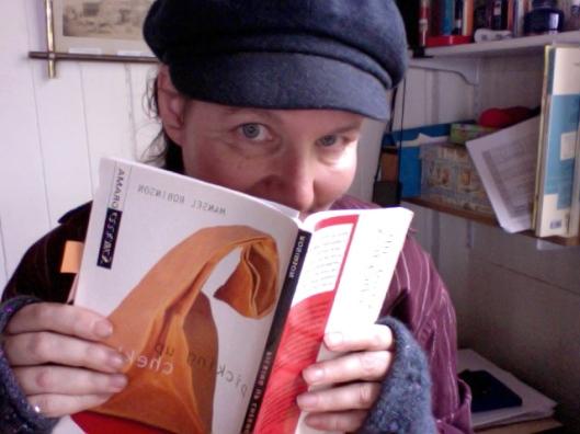 Pam reading Picking Up Chekhov by Mansel Robinson