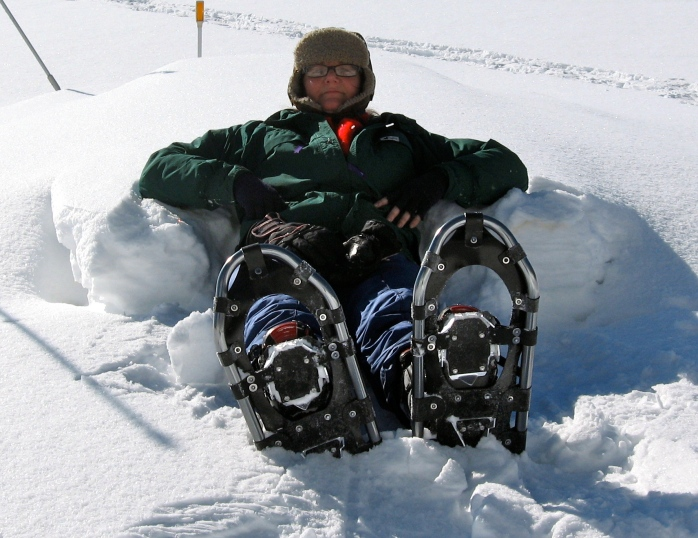 Pam in her snow shoes